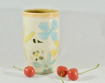 Pottery Tea Cup Tumbler Toothbrush Holder Utensil Holder Save the Bees Mother Gift Pencil Holder Ceramics and Pottery Flower Vase Coffee Cup