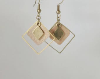 Triple leather gemetriques earrings shiny copper Brown diamond sober and smart