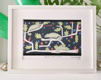 Three Chameleons Illustration Art Print, Limited Edition (framed and unframed options available)