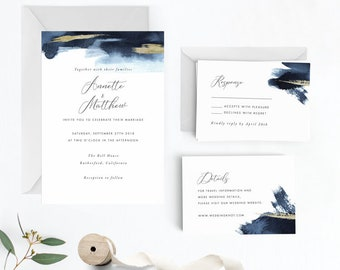 Modern Gold Dust Nautical Blue Wedding Invitation Suite, Wedding Invitation Printable,Invitation Set, PDF Letter or A4 (Item code: P1083)