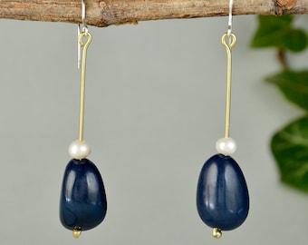 Navy stone earrings, tagua long earrings, pearl drop earrings, blue bead dangle, organic earrings, handmade jewelry, women gift under 20