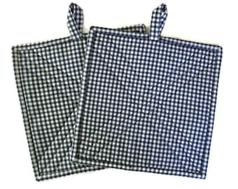 Quilted Fabric Potholders, Set of two potholders Blue and White Checkered, Blue Checkered Hot pad, Blue BBQ Accessory, Quiltsy Handmade