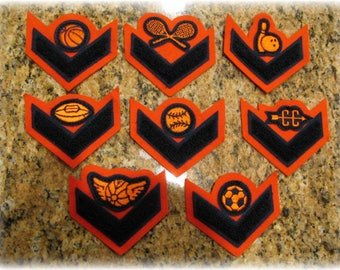 Vintage Chenille Varsity Sports Patches Letterman Jacket Football Soccer Volleyball Baseball Basketball Tennis Bowling Orange Black
