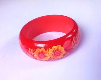 Orange Wood Bracelet Hand Painted Lacquer Creative