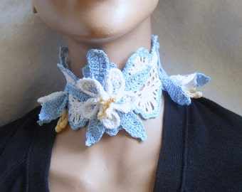 crochet columbine choker, blue and white statement necklace, gift for her, irish crochet necklace, gift for her, crochet floral necklace