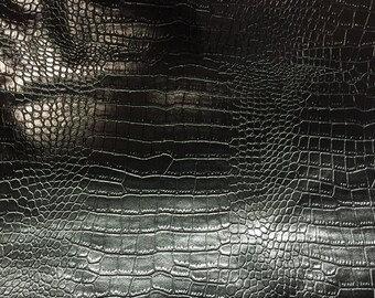 "Black  Embossed Crocodile Vinyl Fabric - Sold By The Yard - 54"" / 55"""