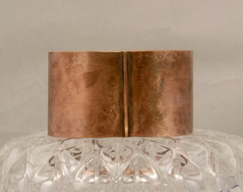Copper Cuff Bracelet Form Folded and hammered with an Antique Patina