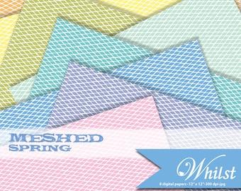 Mesh digital paper fabric scrapbook photo album background texture in yellow orange green blue purple pink  : B0173c v301 spring 8