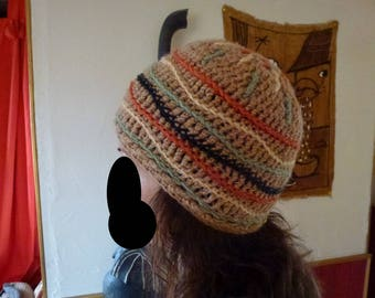 Brown hat with Rasta stripes