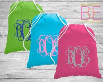 Glitter Monogrammed Drawstring Sport Bag
