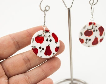 Apple Pear and Cherry earrings
