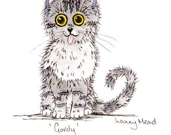 GORDY, Cat PRINT, mounted print, nursery print, illustration print
