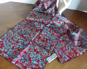 Stunning Sacha for Basha Scarves Vintage 100% Silk Scarf Rectangular Rolled Hem