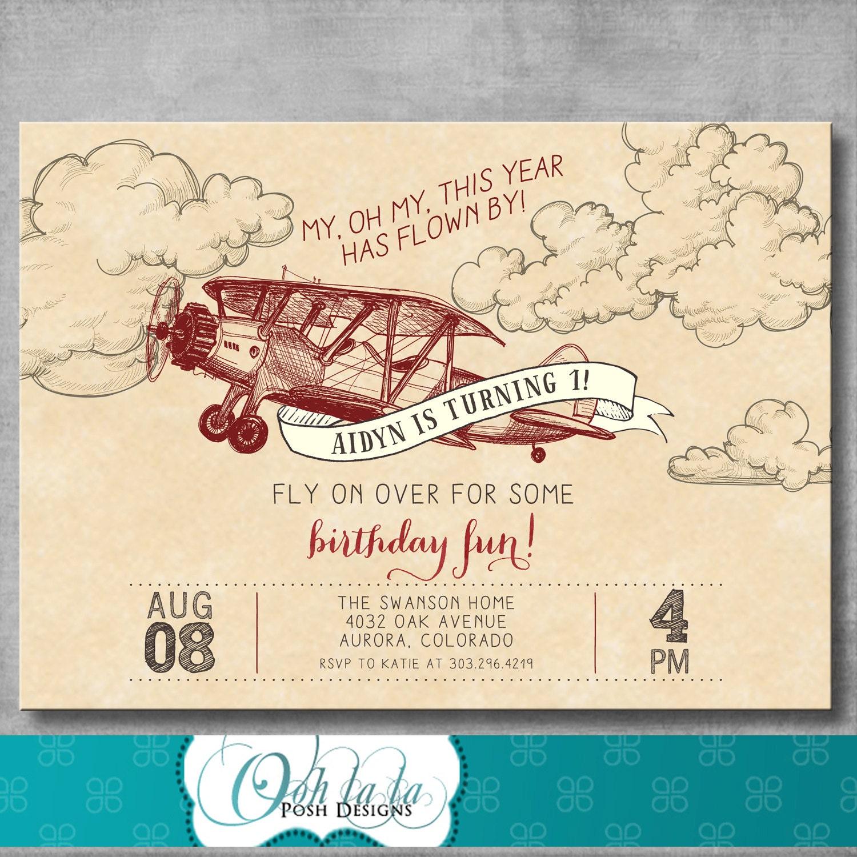 Airplane Birthday Invitation Diy Printable By Vindee On Etsy: Vintage Airplane Invitation First Birthday 1st Retro Old