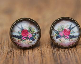 Swallow Earrings, Bird Earrings, Swallow, Bird, Floral, Studs, Stud Earrings, Post Earrings, Small Studs, Glass Dome Earrings