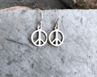 Peace Sign Earrings, Peace Symbol Charm, Dainty Minimal Simple, Sterling Silver, Peace Jewelry, Hippie Flower Child Groovy, World Peace