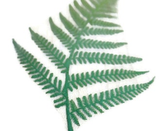 Fern Leaf Stamp Wood Block Mounted Rubber Gardening