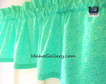 Bright Sea Foam Green Tone on Tone Floral Short Valance Kitchen Curtain Bedroom Curtain Beach Curtain Window Decor Idaho Gallery