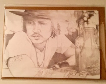 Jonny Depp greeting card. Perfect for birthdays or any occasion. Do you know a John Depp fan?