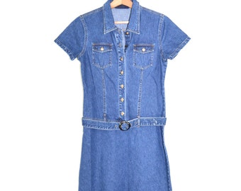 Denim Dress Denim Shirt Dress Jean Dress Womens Denim Dress 90s Grunge Dress Classic Blue Denim Dress Size 9