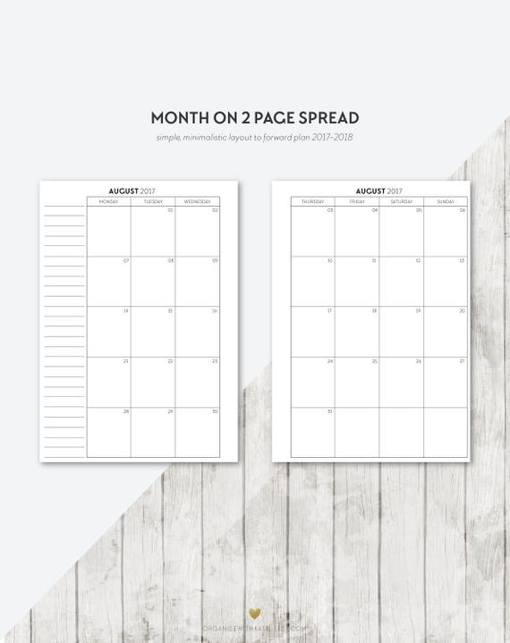 Bo A5 2017 2018 Month On 2 Pages Printable Planner Inserts