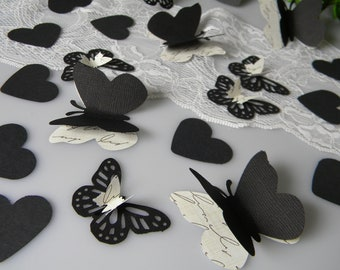 Black Butterfly Table Decoration / Black Hearts & 3D Butterflies / Gothic Wedding Party Decor / Black Centerpiece Table Scatter