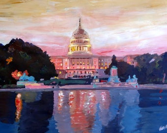 United States Capitol in Washington D.C. at Sunset