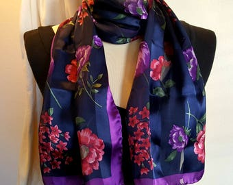 Silk Charmeuse Floral Scarf / Long Ladies / Hand Rolled / Gorgeous Colors / Striped Sheer & Satin / Lovely Vintage
