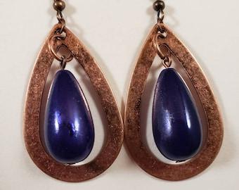 Blue and Copper Teardrop Earrings