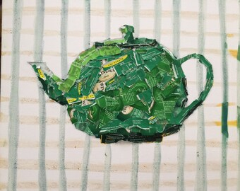 Tea Pot Collage Made Out of Tea Bag Wrappers
