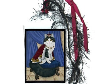 King Cat Bookmark Prince Anakin Two Legged Cat Royal Cat Bookmarker Regal Fantasy Cat Art Mini Bookmark Cat Lovers Gift