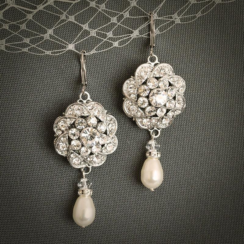 Vintage Style Earrings: Vintage Style Wedding Earrings Teardrop Pearl Drop And