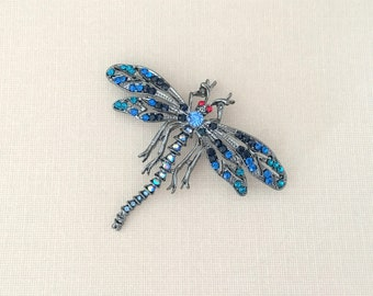 Blue Dragonfly Pin.Blue Dragonfly Brooch.Dragonfly Rhinestone Brooch.Dragonfly Broach.Vintage Style.sapphire blue.bridal brooch pin