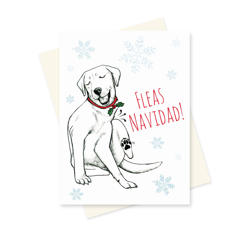 Dog Christmas Card. Funny Holiday Card. Fleas Navidad Cute