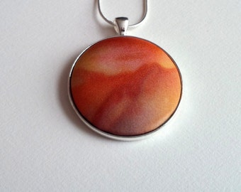 Hand Painted Silk Pendant in Orange, Red and Rust Brown