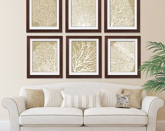 Underwater Sea Coral Collection (Series D) -Set of 6 - Art Prints - (Featured in Coffee Burlap) Nautical Art Print