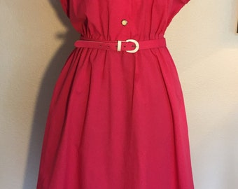 Plus size 80's Vintage Hot Pink Enamel Button Shirtwaist Dress