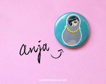 Button Matryoshka Anja: pin-up-girl, rockabilly, dots, oldtimer, 60s, Matryoshka, Babushka, Russian doll, pin