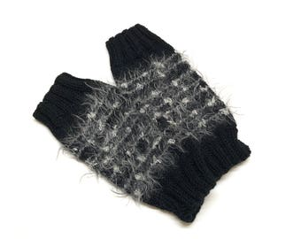 Black and Silver Striped Mittens / Wrist Warmers