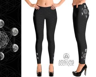 Moon Phases leggings, Sacred geometry leggings, Hippie pants, Printed tights, Yoga leggings, Festival leggings, Full Moon, Lunar leggings