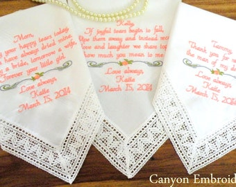 Wedding Gift, Gifts. Stepmother Mom Mother In-Law, Gift for Mom, Set of Three Embroidered Wedding Handkerchiefs By Canyon Embroidery