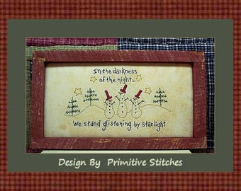 In The Darkness-Snowmen-Primitive Stitchery E-PATTERN-Instand Download