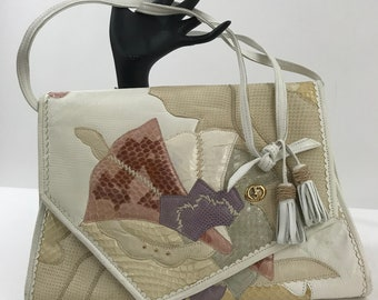 Vintage 1970s Carlo Fiori Leather Clutch/Leather Patchwork Handbag/Pastel and Neutral Patchwork Leather Clutch/Leather Spring/Summer Bag