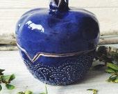 Ceramic Vase Box Garnet for Rings, handmade pottery rustic