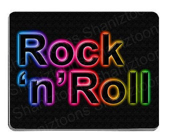 Rock n roll novelty gift 190mm x 210mm 5mm thick rubber mouse mat