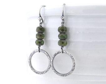 Rustic Earrings Forest Green Bead Earrings Sister Gift Boho Earrings Unique Silver Earrings Girlfriend Gift for Her Bohemian Jewelry - Ava