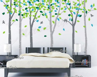 FREE SHIPPING - 6 birch trees wall decal - baby decal  birds Nursery wall decals tree wall decals wall sticker children wall decals