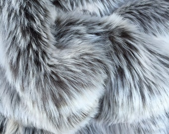 Blizzard - quality dense long pile frosted grey fluffy synthetic fur fabric    - Long HALF