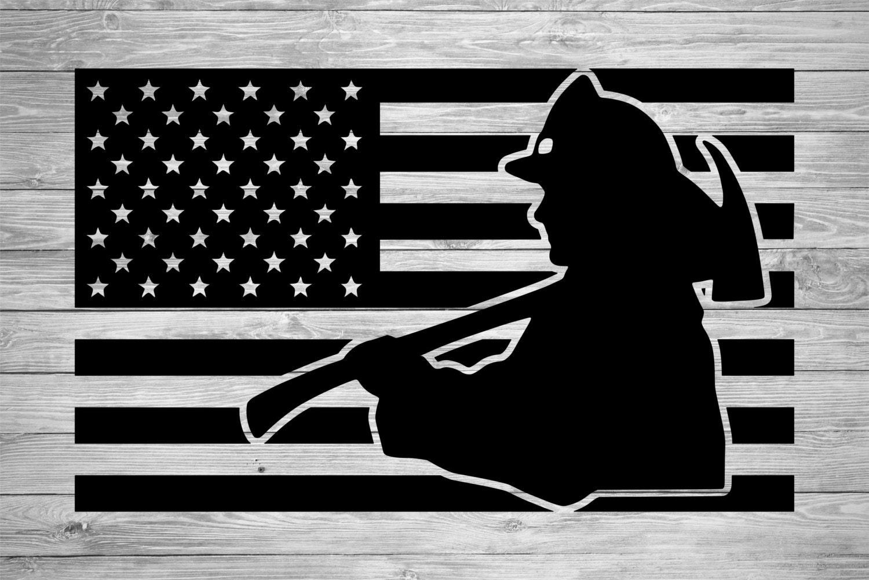 firefighter american flag svg png  jpg  fire fighter firemen