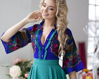 "Beautiful bright dress ""Russian Girl"" in the Russian style, with a flying skirt of crepe - chiffon. Midi dress"